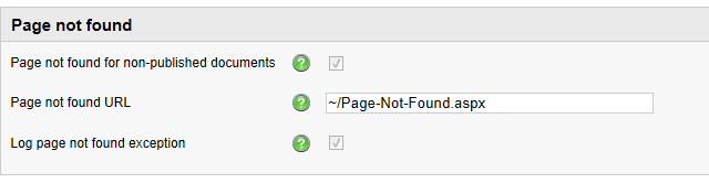 Page not found settings