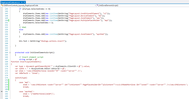 Page layout code