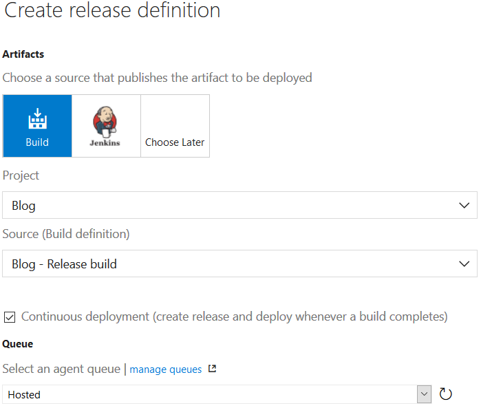 Create release definition