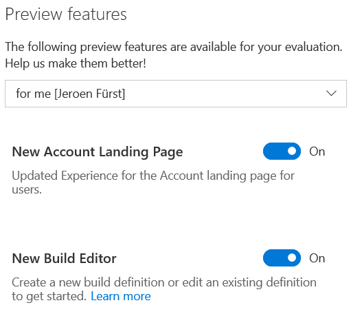 Preview features in VSTS