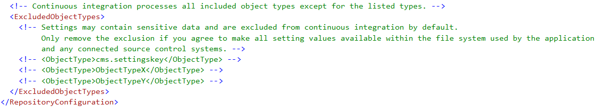 Excluded CI object types