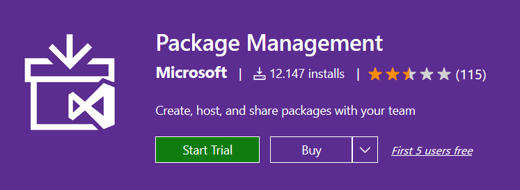 Package Management from the Visual Studio Marketplace