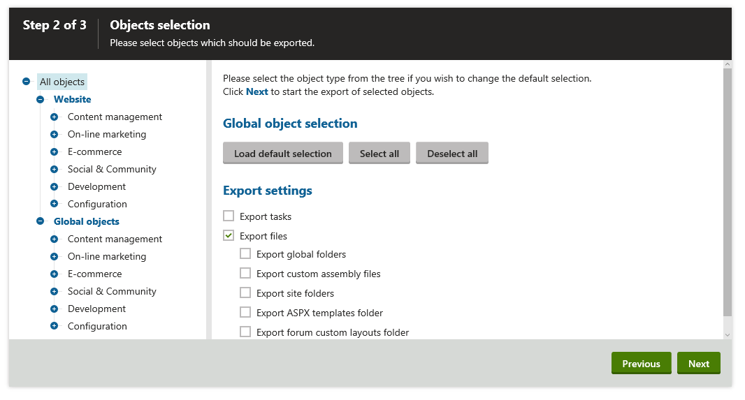 Specify the correct export settings