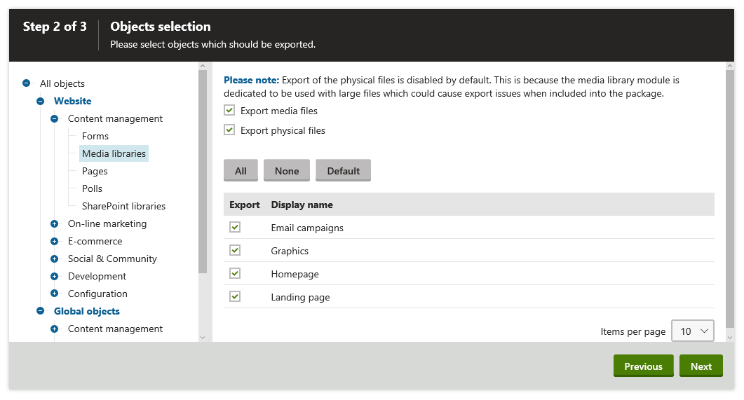 Select the media library objects